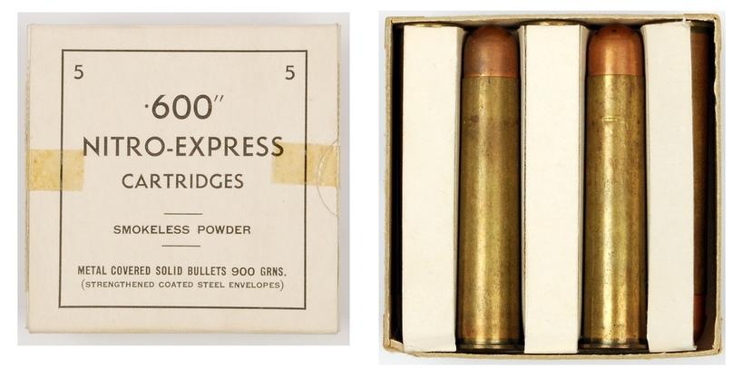 Коробка с пятью патронами .600 Nitro Express.