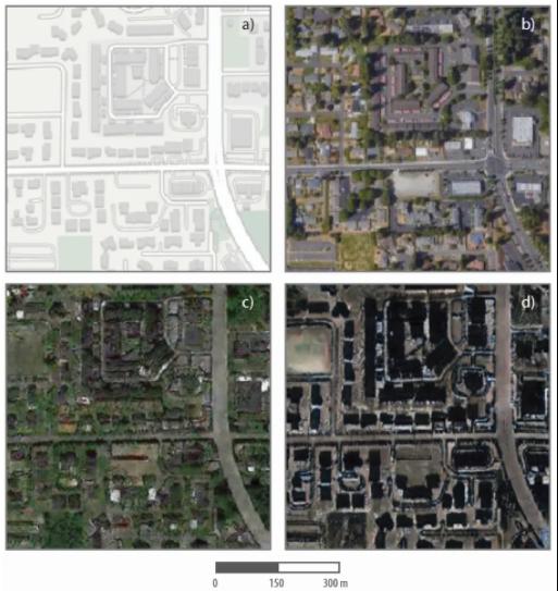 Это карты и спутниковые изображения, настоящие и поддельные, одного из районов Такомы. В левом верхнем углу показано изображение из картографической программы, а в правом верхнем углу - фактический спутниковый снимок района. Нижняя пара - это смоделированные спутниковые изображения района, созданные на основе геопространственных данных Сиэтла (внизу слева) и Пекина (внизу справа).