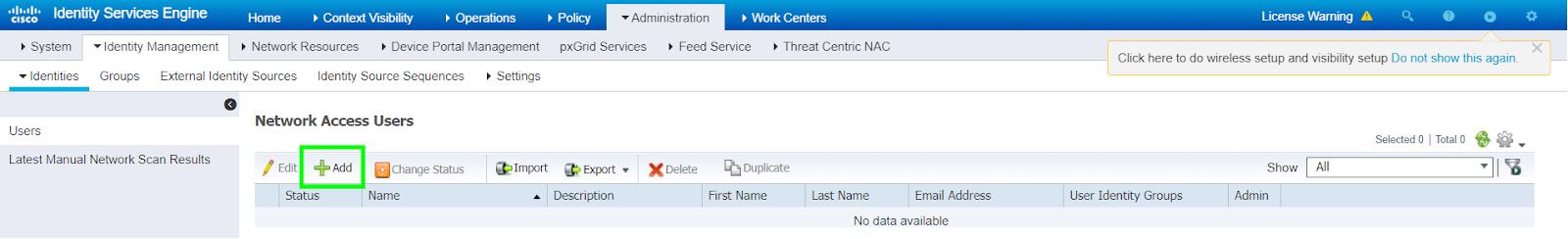 Рисунок 1. Добавление локального пользователя в Cisco ISE