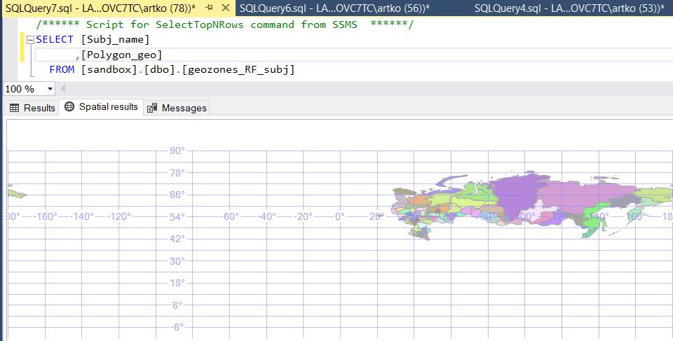 Готовая таблица субъектов РФ в формате Geography, вывод на вкладке Spatial Results