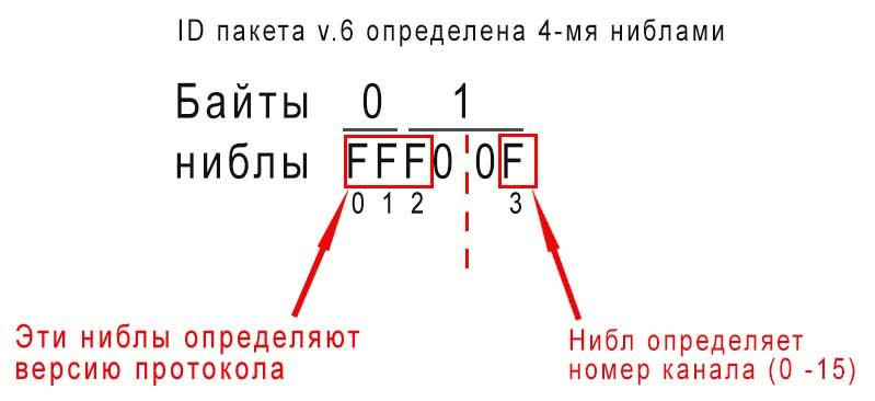 ID пакета v6. Определяется 4-мя ниблами.