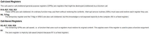 Выдержка из стандарта по поводу использования регистров AVR