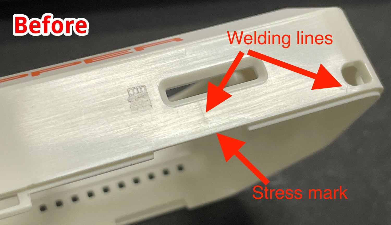 Область корпуса возле SD-card на ранних этапах производства
