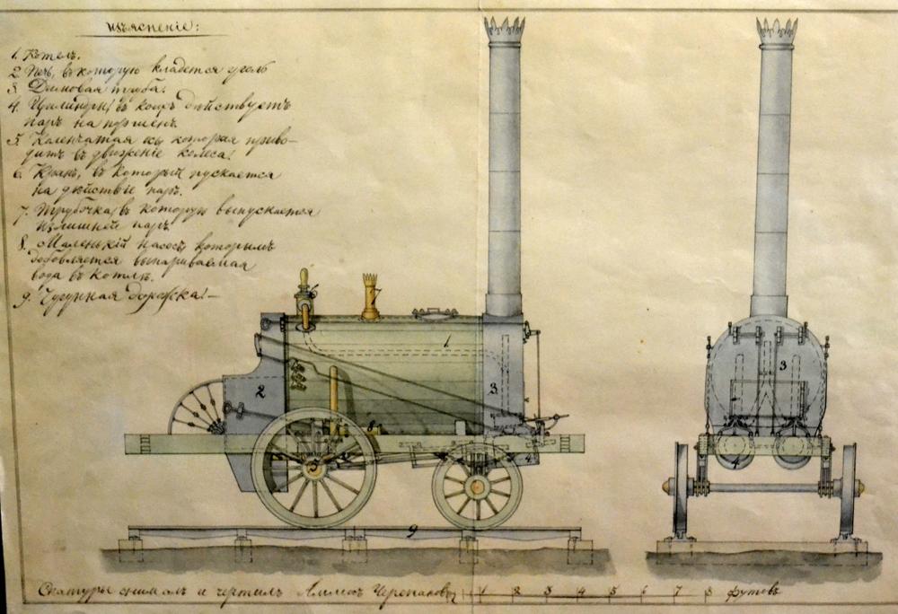 Первый в России паровоз. Отец и сын Черепановы, 1834 год.