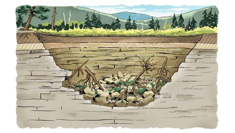 Наконец, когда вес верхнего слоя почвы становится слишком большим для ослабленного грунта под поверхностью, поверхность разрушается. Это то же самое, как если бы в вашем доме кто-то вырезал столбы, на которых держатся стены. Крыша рухнула бы, приводит сравнение Фейдер.