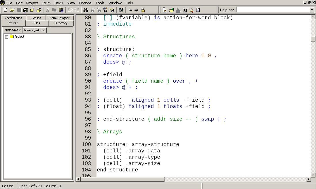 Win32forth IDE