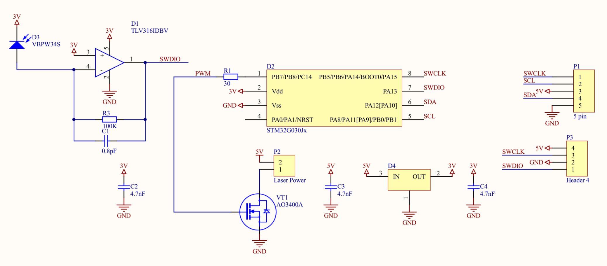 Рисунок 4. Третий прототип датчика - принципиальная схема.