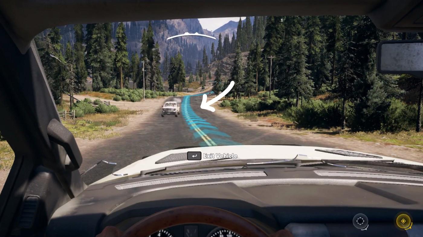 Far Cry 5. Синие направляющие к метке на карте