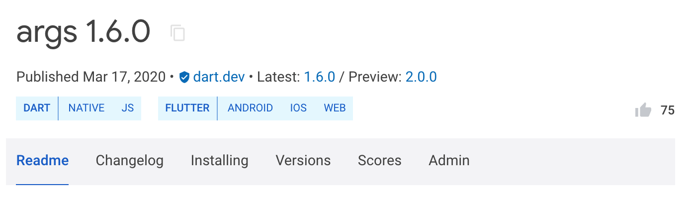 Cтабильная (1.6.0) и preview (2.0.0) версии пакета args на pub.dev