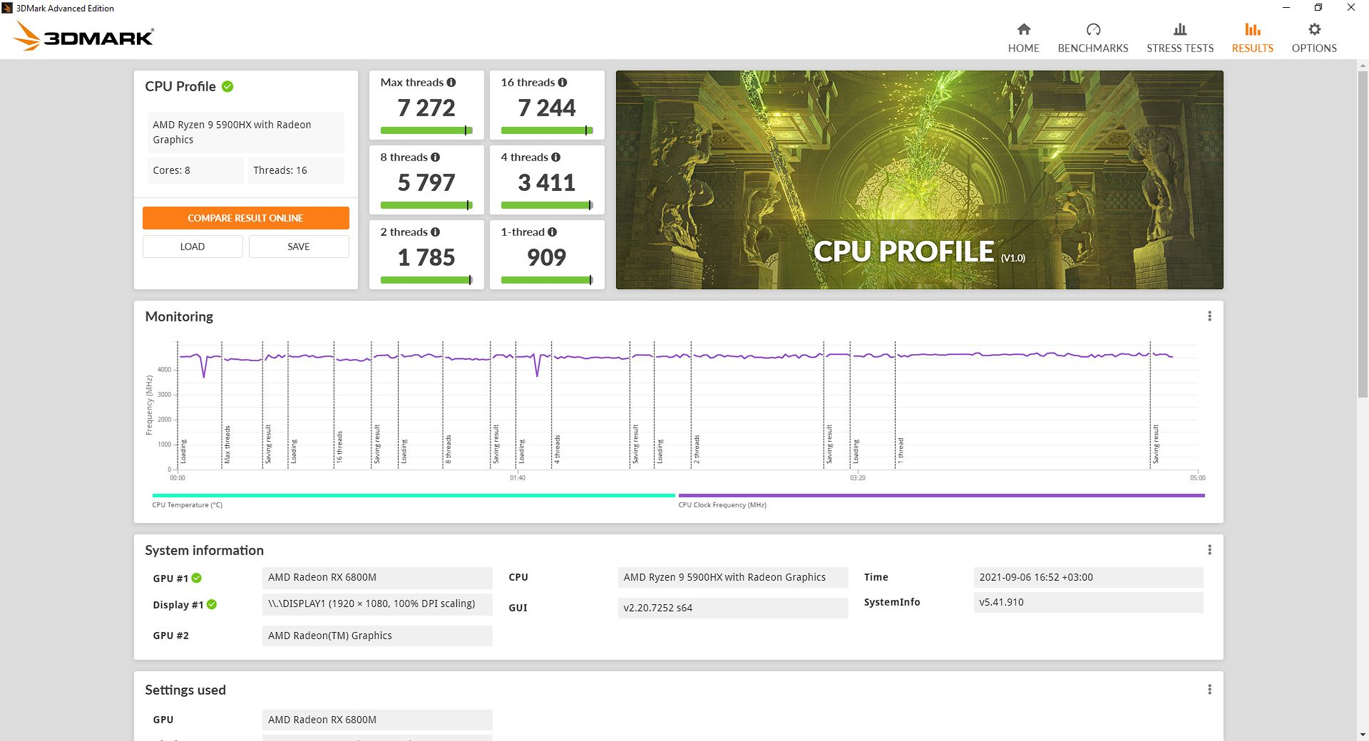 Результат в 3DMark CPU Profile - 7 272 балла