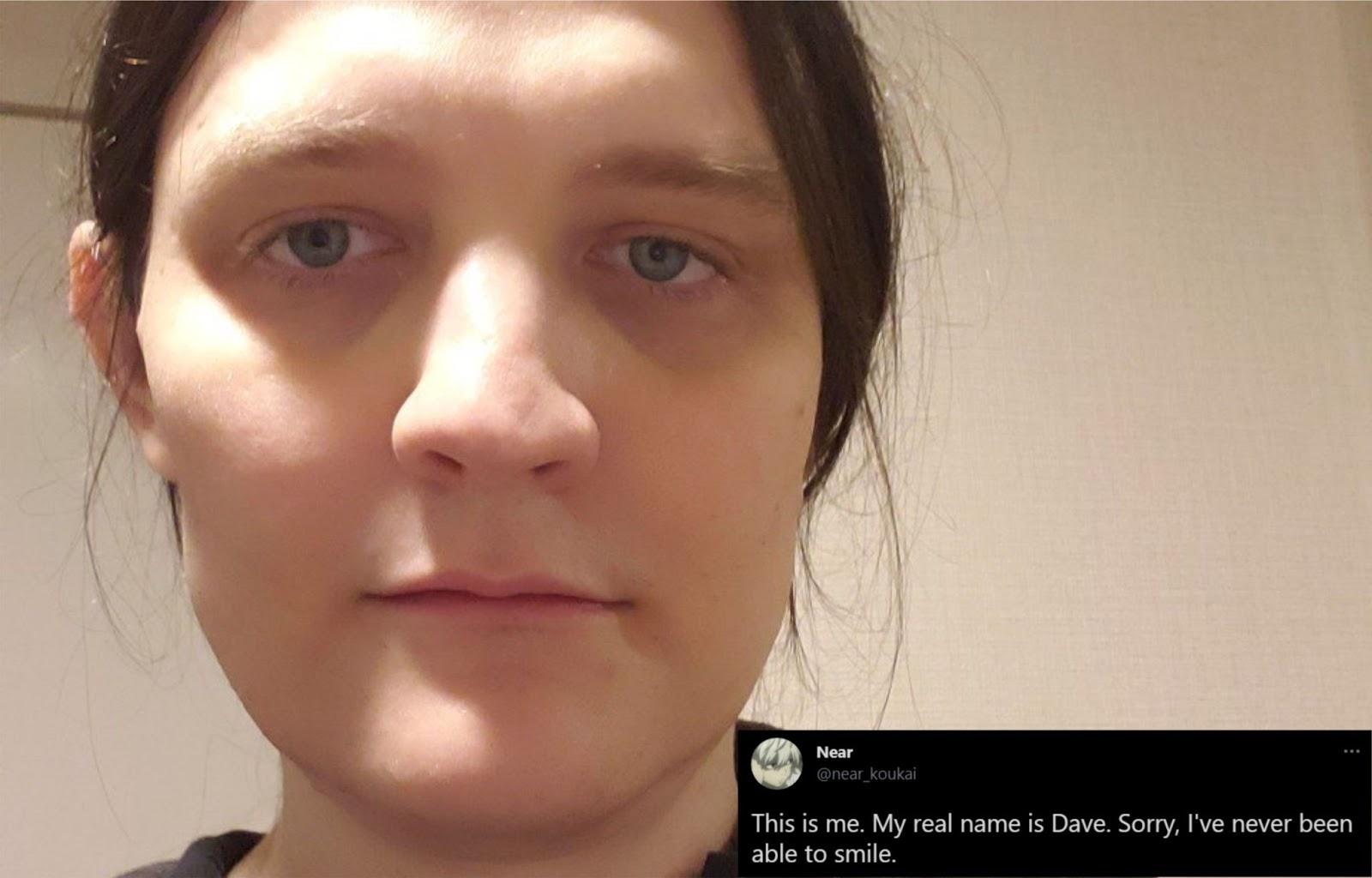 Фотография и скриншот твита Near: «Это я. Моё настоящее имя — Дейв. Простите, никогда не мог улыбаться»