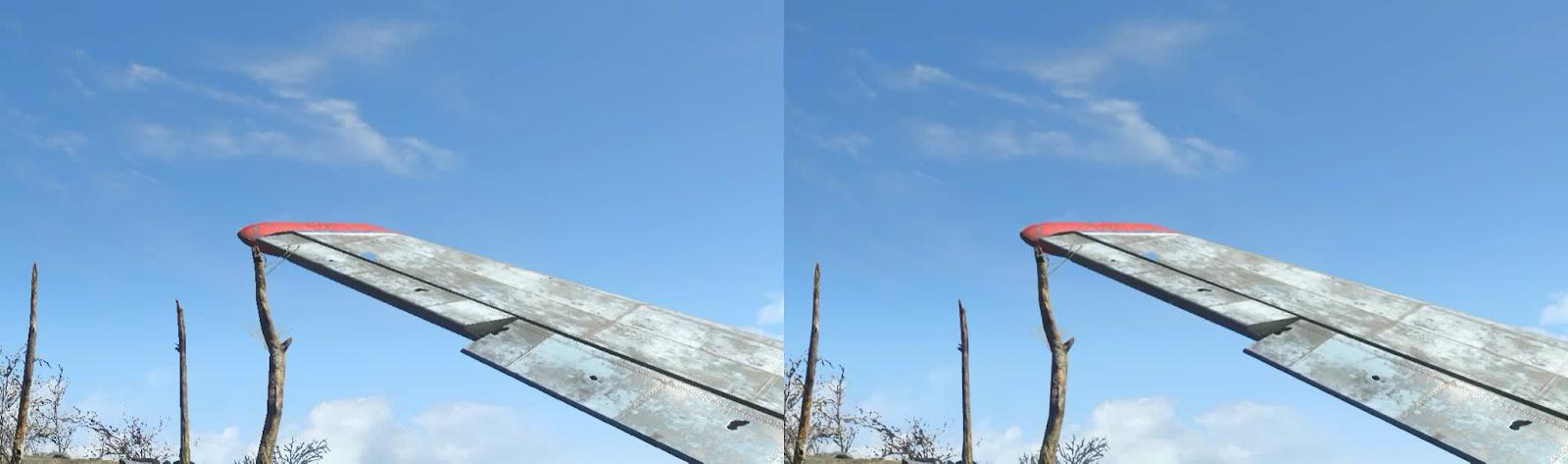 Без AA (слева) и TAA (справа)— обратите внимание на размытие деталей на крыле