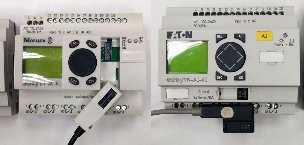 EASY800 и EASY700 с кабелями программирования