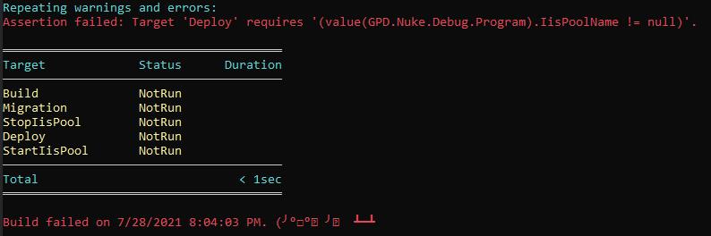 Результат выполнения Nuke если не был передан обязательный параметр