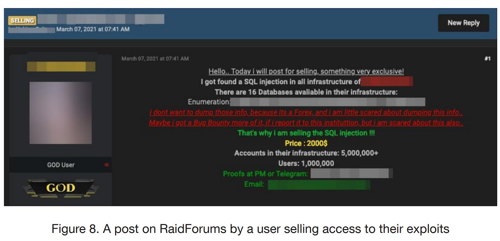 Объявление о продаже эксплойтов на RaidForums. Источник: Trend Micro