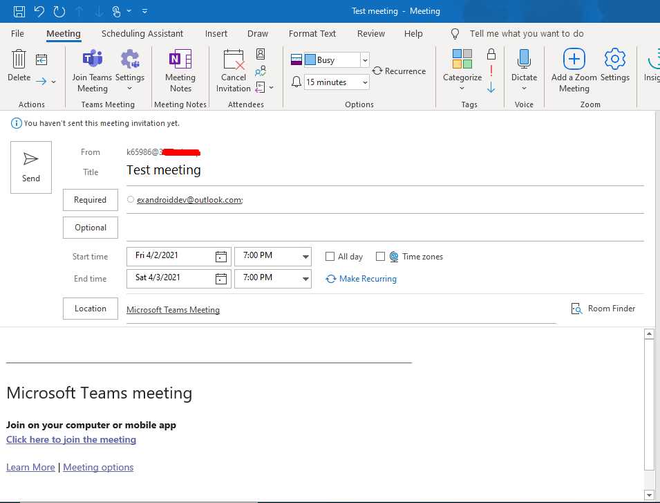 Создание встречи в Outlook