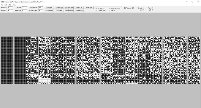 Bitview 16-битные столбцы