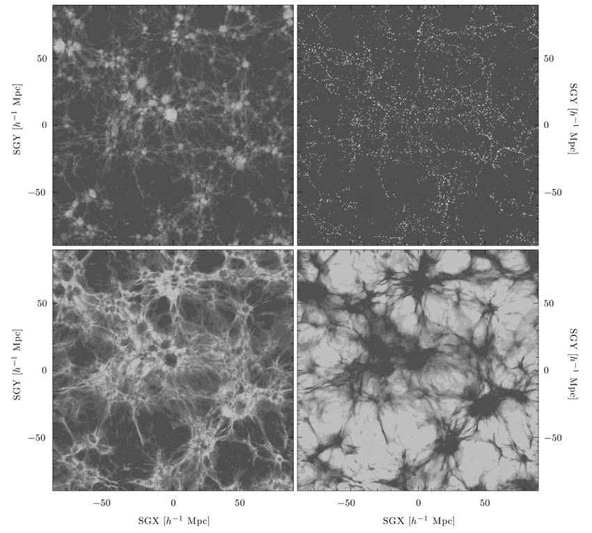 Реконструкция нити галактик: филаменты (слева вверху), узлы соединения (справа вверху), наслоение (слева внизу), воиды (справа внизу). По осям отмечены единицы SGX (Supergalactic coordinates, англ: межгалактические координаты)Credit: Sebastin E. Nuza