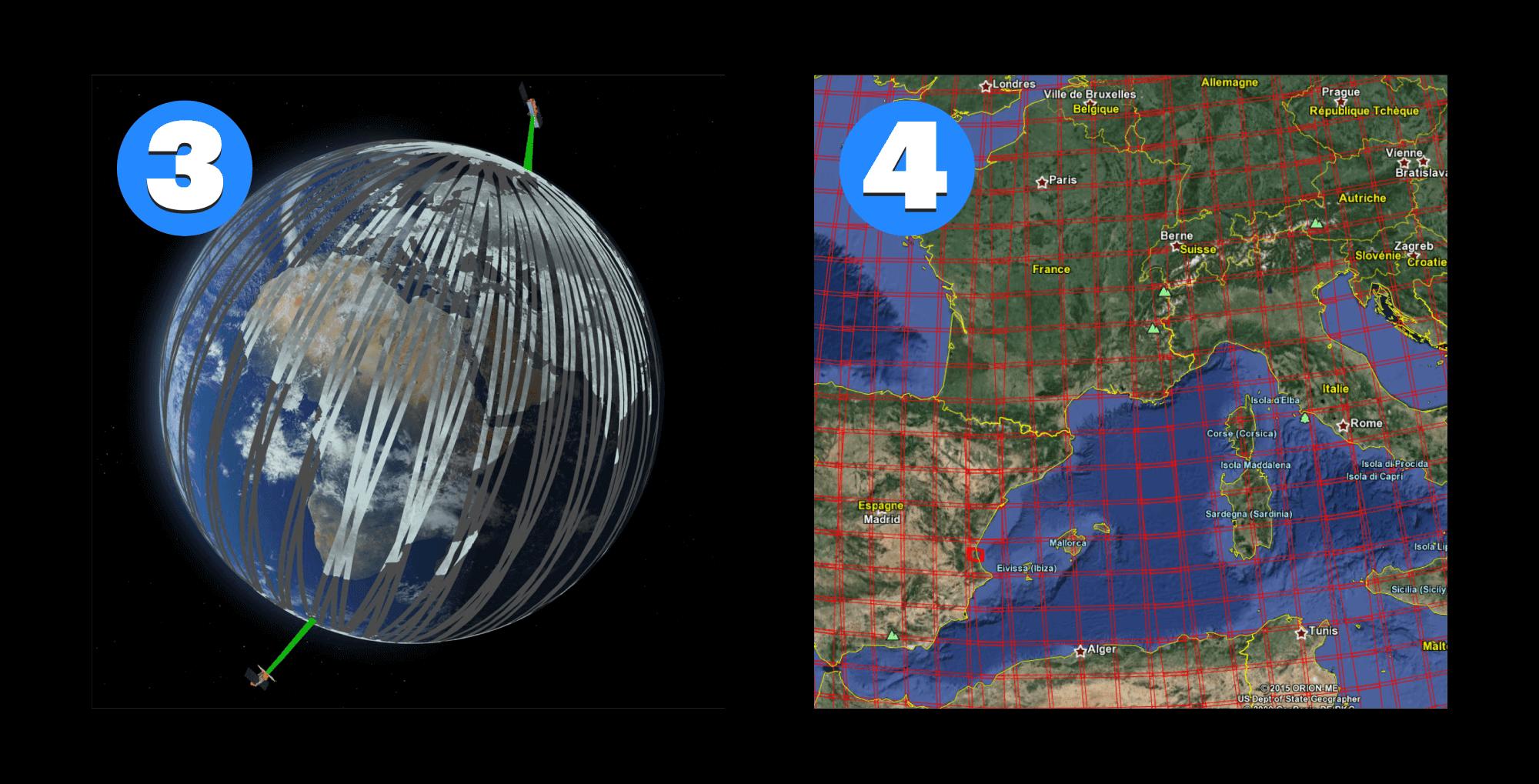 3 — орбиты спутников Sentinel, 4 — сетка снимков Sentinel-2
