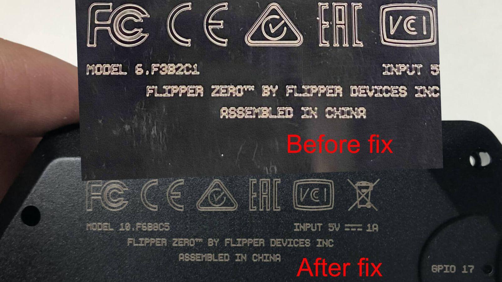 Гравировка надписей на черном корпусе до и после исправлений