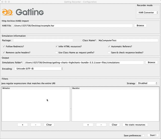 Gatling Recorder screenshot