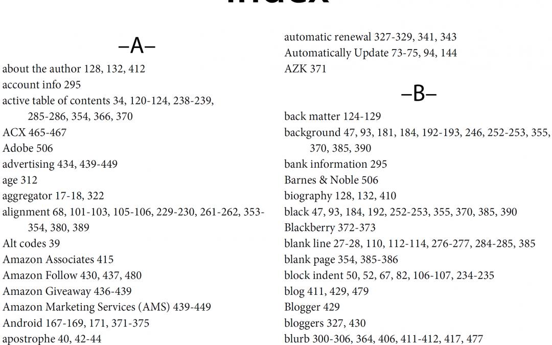 Так выглядит книжный алфавитный указатель