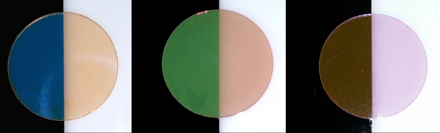Цвет пластинки с наночастицами зависит от фона. Взято с https://nanocomposix.com/pages/color-engineering#target