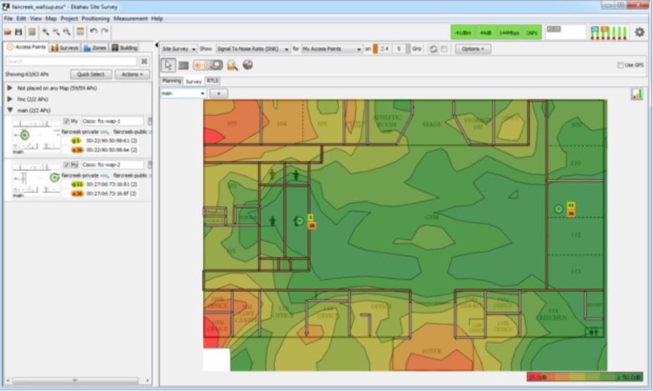 Ekahau Site Survey и аналогичные инструменты могут отображать градуированную (тепловую) карту помех в совмещенном канале.