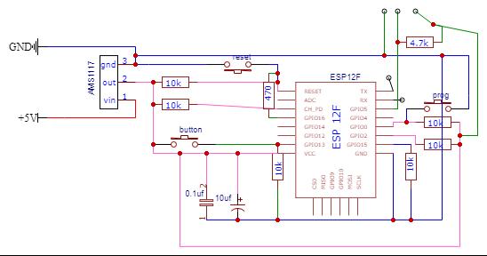принципиальная схема модуля для датчика DS18B20(для DHT11 отличие будет только в резисторе, который будет не 4.7К,а 10К)