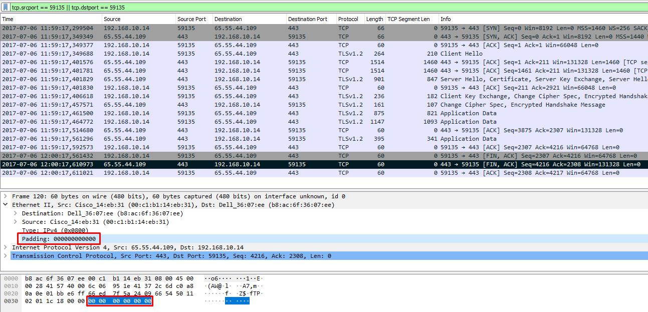 Проверка длины пакета в Wireshark