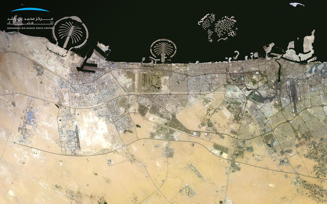Фото береговой линии Дубая, сделанное спутником KhalifaSat. Источник: MBRSC
