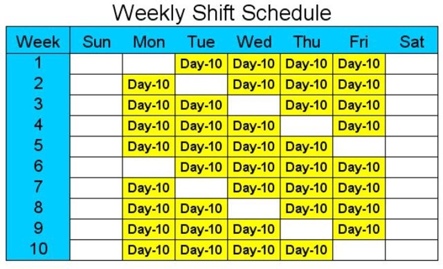 Пример расписания 4-дневной рабочей недели