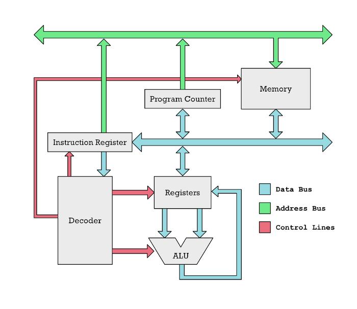 Очень простой RISC чип, не М1. Инструкции перемещаются из памяти по голубым линиям в регистры. Декодер определяет, чем является каждая инструкция, и активирует различные части CPU через красные линии. ALU складывает и отнимает числа из регистров.