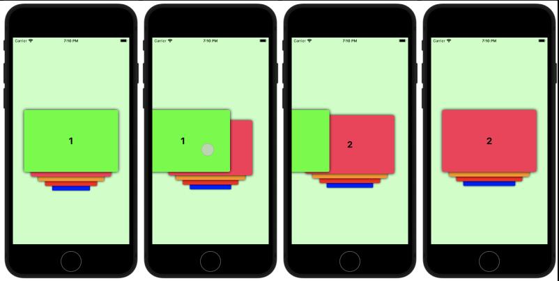 При смахивании влево очередной карточки следующая занимает её место, а остальные пропорционально увеличиваются
