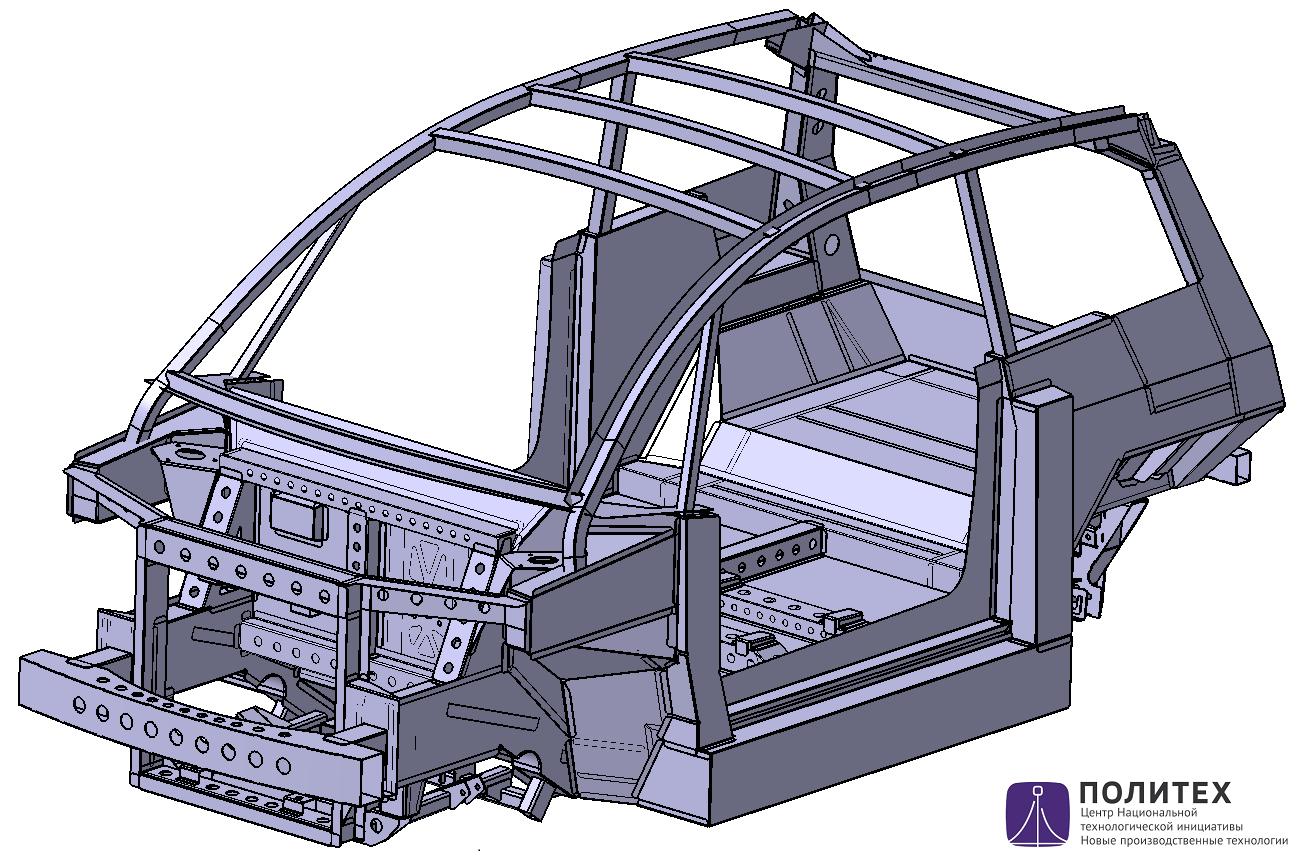Силовой каркас кузова электромобиля