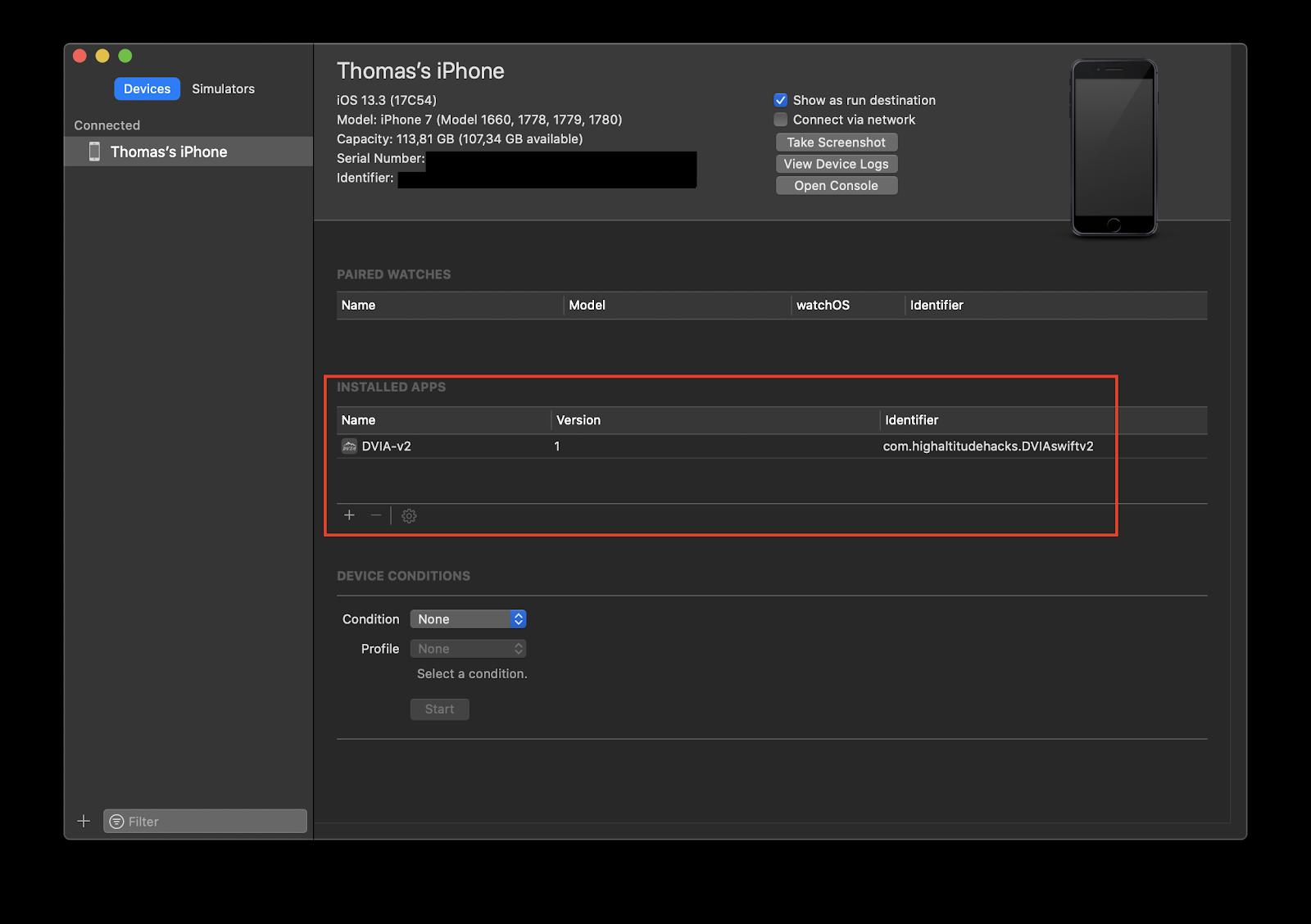 Пример установки приложения через Xcode (Window — Devices and Simulators)