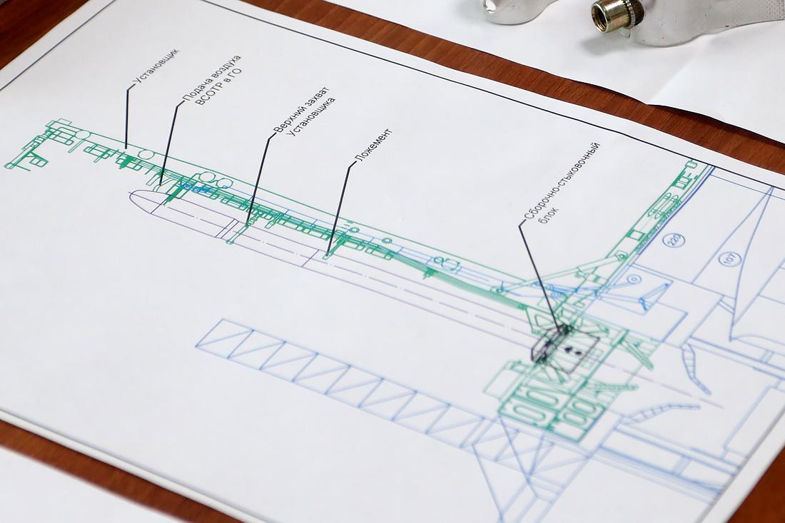 Схема ракеты от S7 R&D на стартовом столе «Морского старта». Фото автора