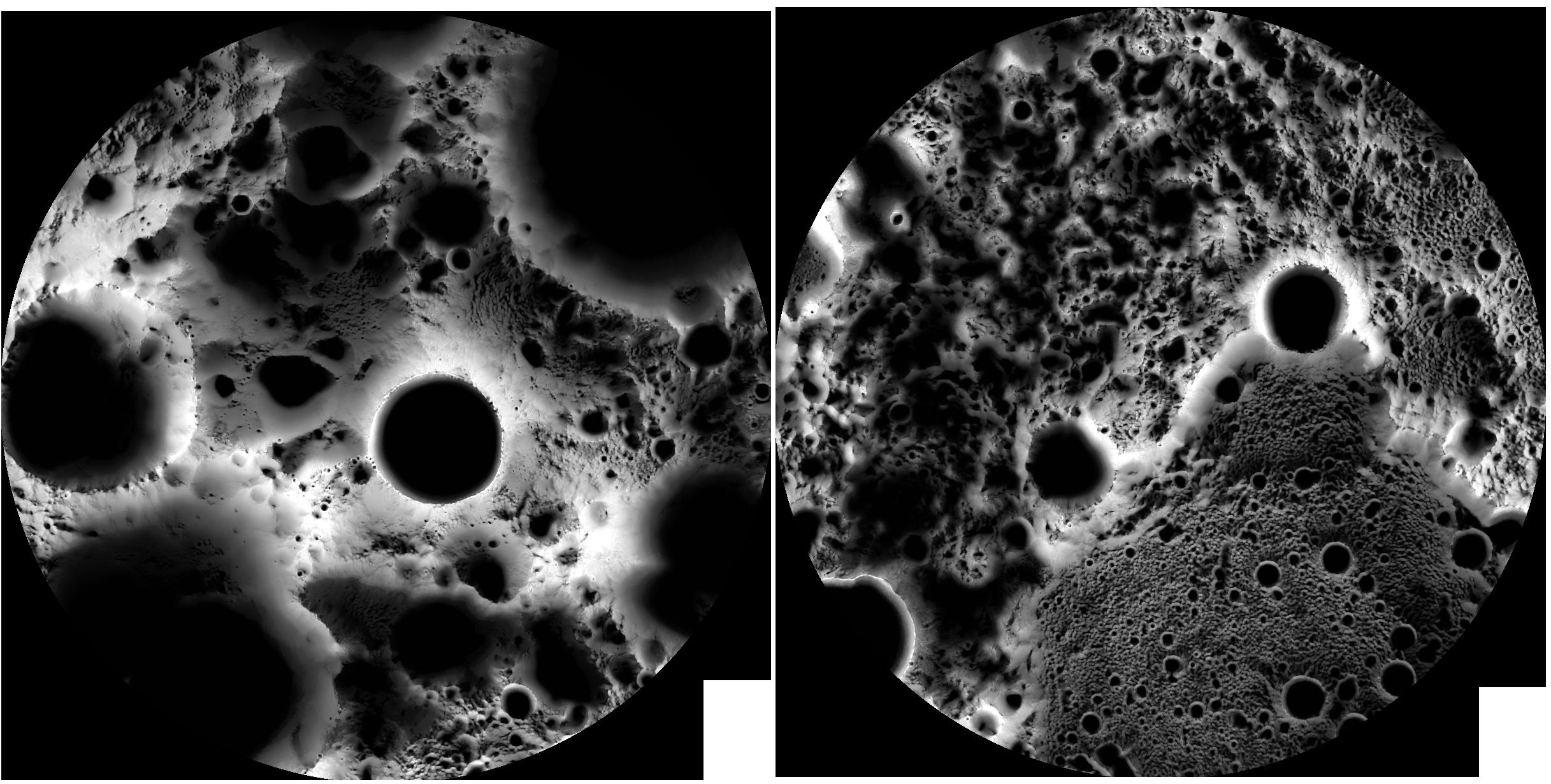 Карта распределения освещенности и тени в течение полных лунных суток у лунных полюсов. Илл. NASA