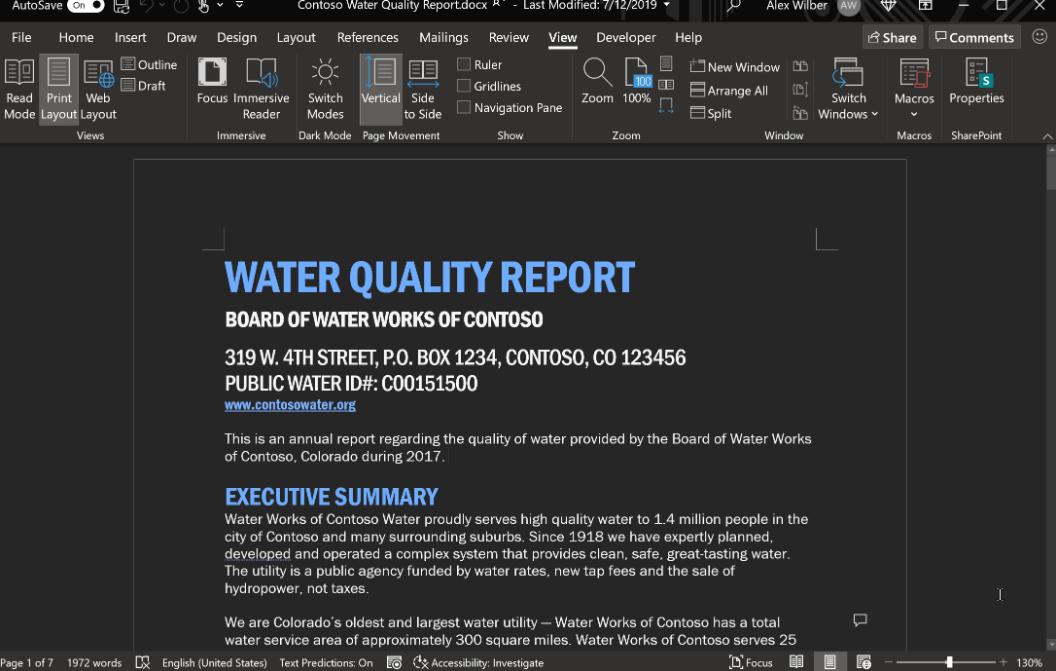Microsoft Word тестирует тёмный режим с тёмным цветом «бумаги»