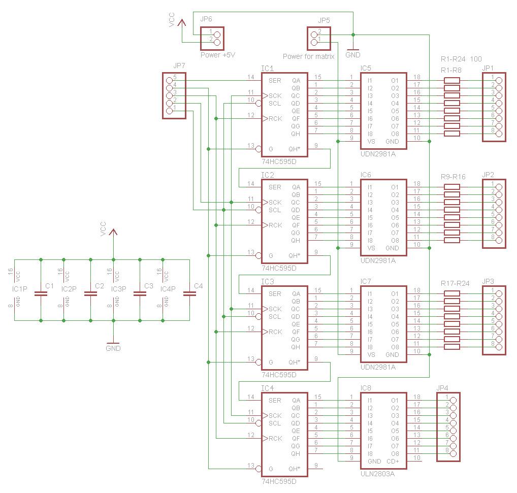 Схема платы управления матрицами