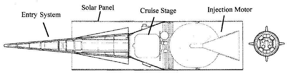 AEOLUS в полетной конфигурации (с небольшой маневровой ДУ на хвостовом отсеке), полупогруженный в цилиндрический отсек, несущий на себе солнечные батареи