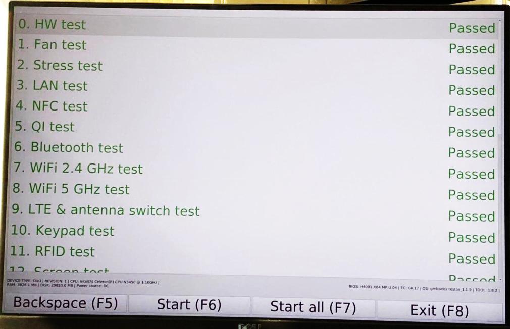 Меню программы тестирования GM-Box