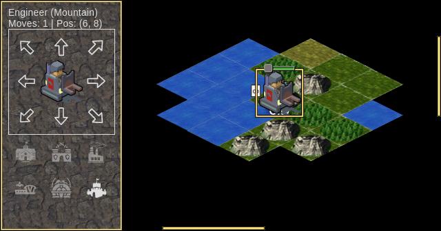 Стартовая позиция игрока, где можно наблюдать изометрический мир, а также возможные направления движения