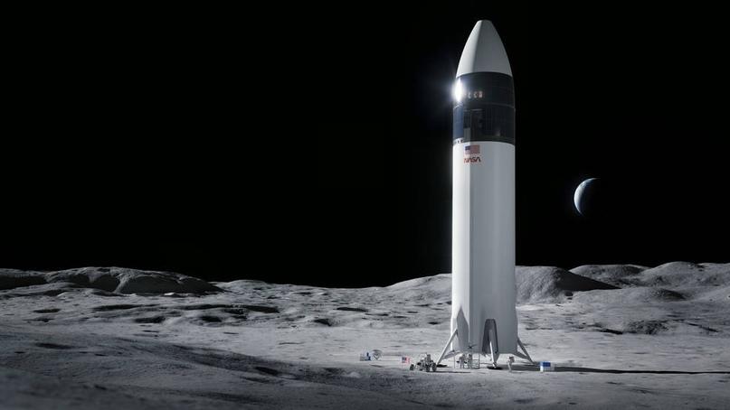 Иллюстрация конструкции посадочного модуля космического корабля SpaceX Starship, который доставит первых астронавтов НАСА на поверхность Луны по программе Artemis. Предоставлено:SpaceX.