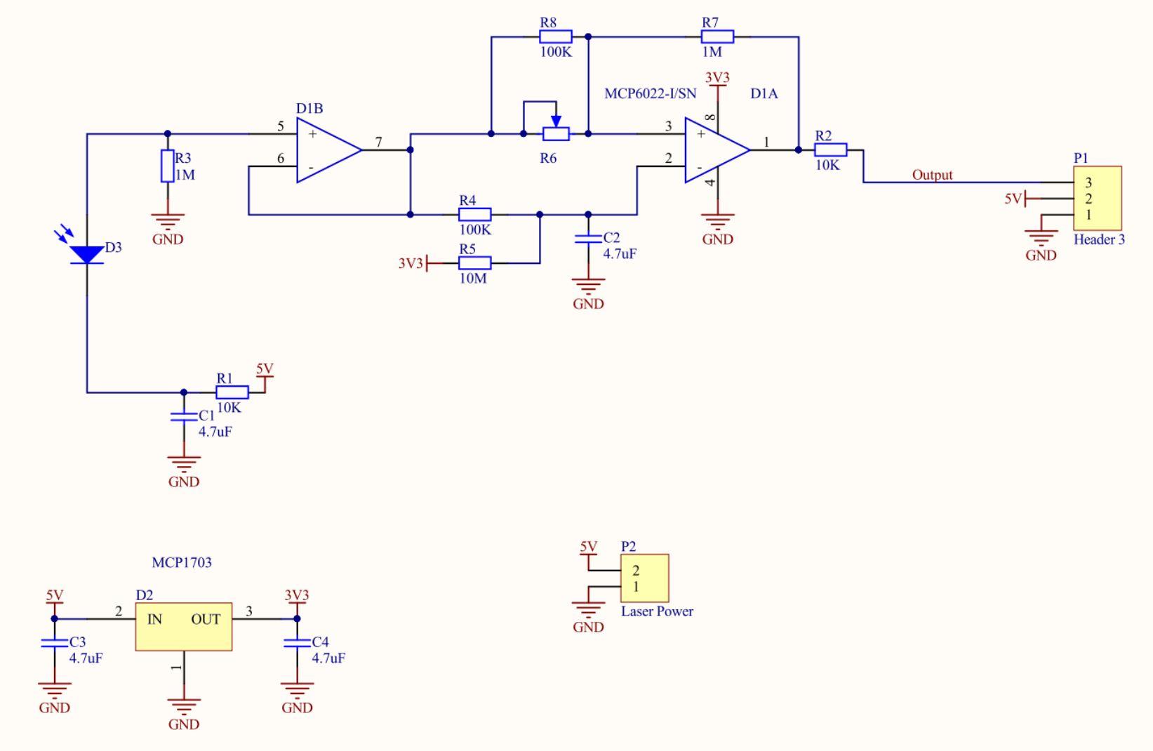 Рисунок 3. Второй прототип датчика - принципиальная схема.