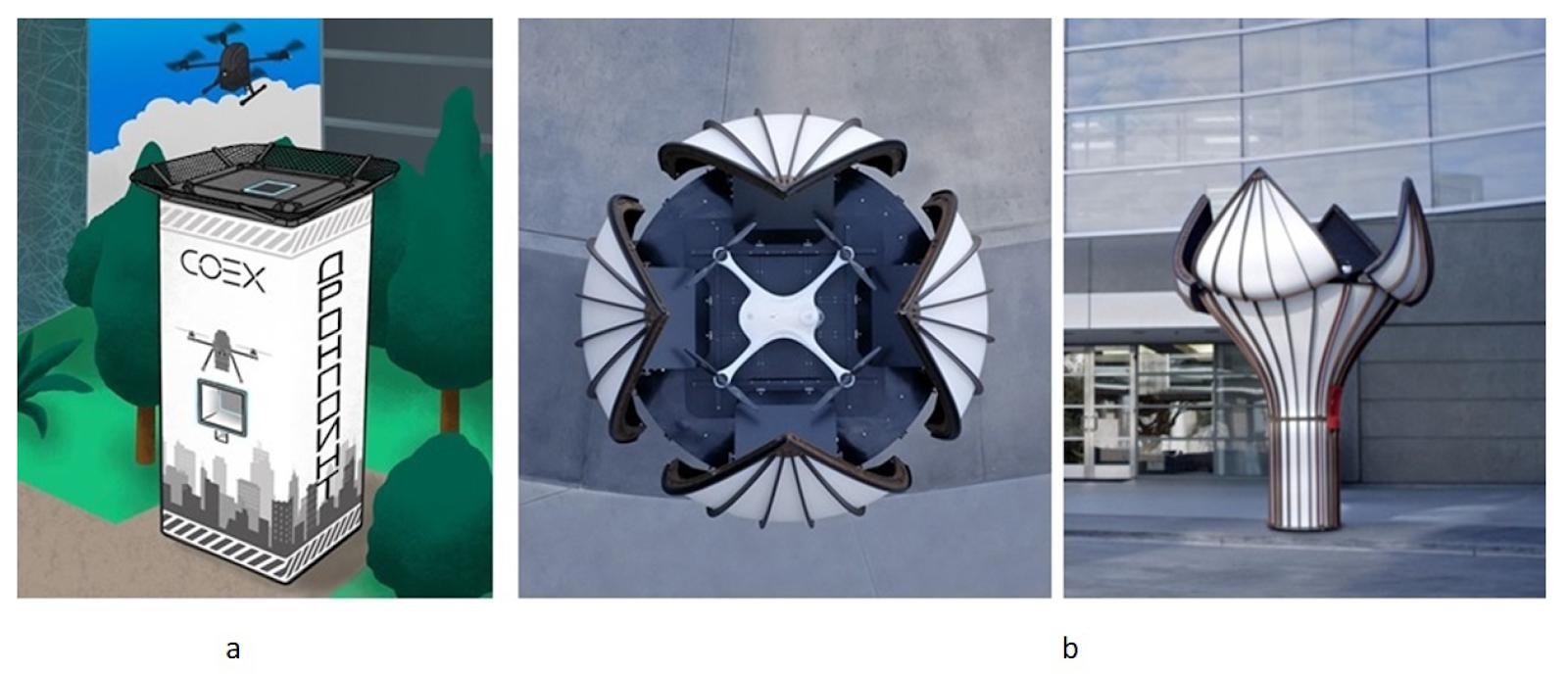 Примеры посадочных платформ-постаматов: (a) COEX, (b) Matternet