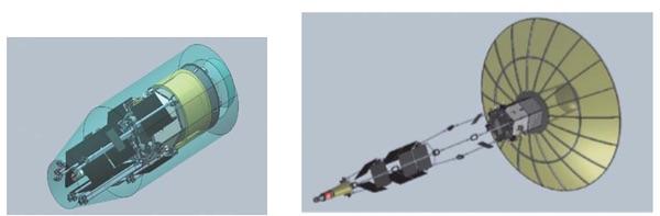Спутник радиоэлектронной борьбы, предложенный КБ «Арсенал» в стартовой и орбитальной конфигурации. (Источник: Российский ежегодник радиоэлектронной борьбы за 2015 г.)