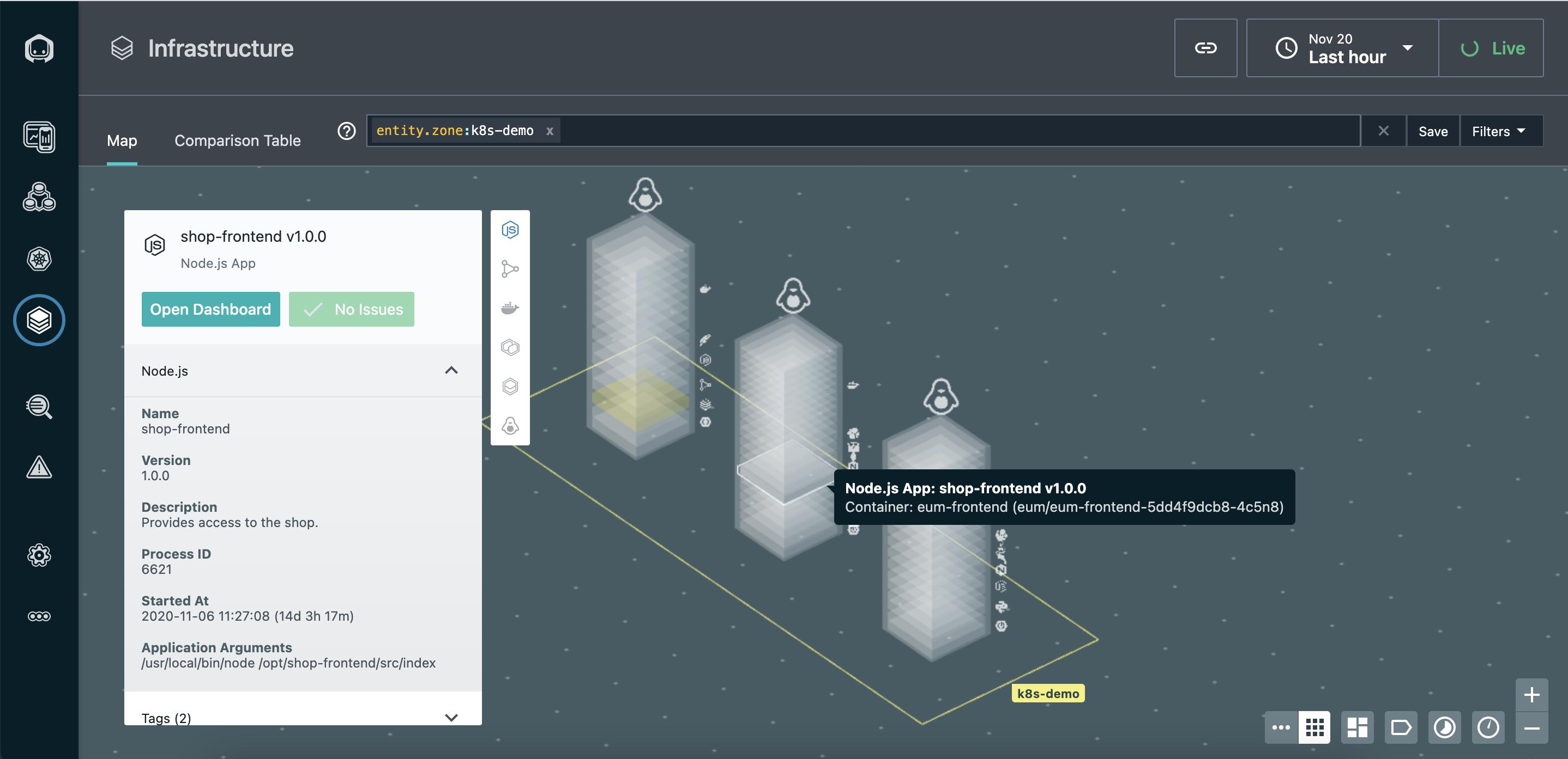 Свойства выбранного Node.JS приложения на карте инфраструктуры