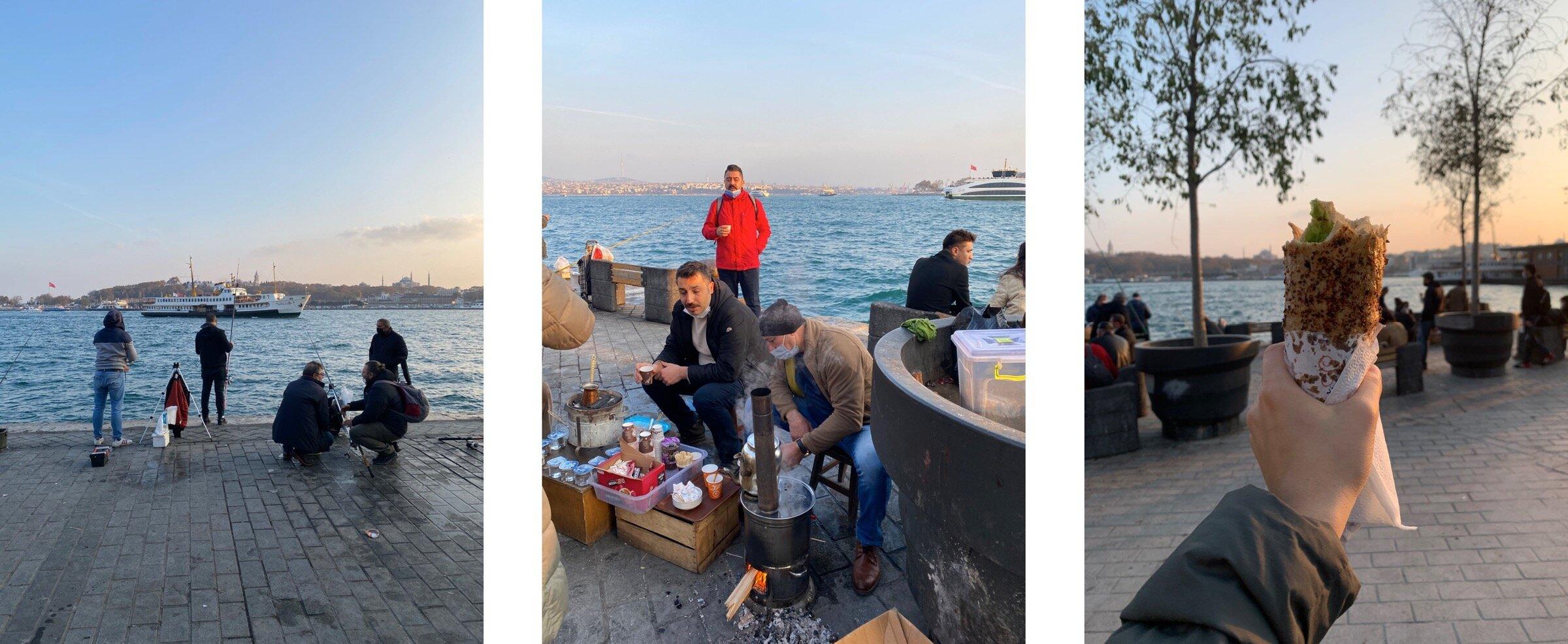 Рыбаки, импозантные деды за приготовлением чая и готовая покусанная шаурма на фоне Босфора