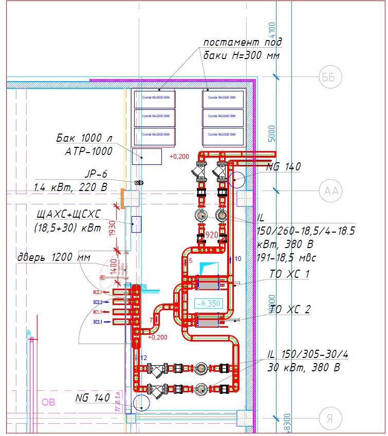 Это – не выкопировка из полного чертежа, это – реальный скриншот PDF-файла вплоть до пикселя. Здесь нет ни основной надписи чертежа, ни маркировки помещения, ни высотной отметки. Некоторое представление о координатах дают оси, но их явно недостаточно. Ещё есть модели оборудования (как потом выяснилось – устаревшие).